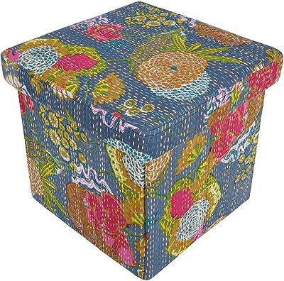 Amazon Com Abstract Teal Stripes Cube Pouf Ottoman 18