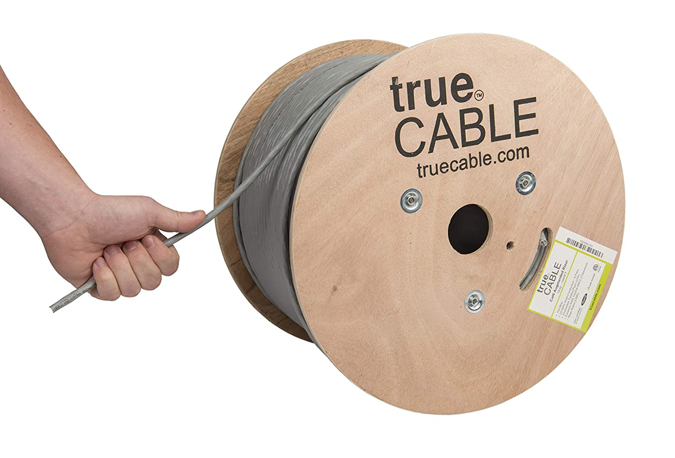 Cat6A Riser (CMR), 1000ft, Gray, 23AWG 4 Pair Solid Bare Copper, 750MHz, ETL Listed, Unshielded Twisted Pair (UTP), Bulk Ethernet Cable, trueCABLE