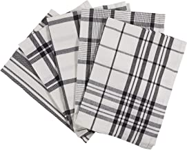 Ciroa Set of 5 Tea Towels Extra Large, Black and White Quality Cotton Cloths