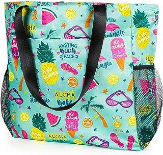 Comius Sharp Strandtasche Damen, Shopper Schultertasche Canvas Beach Bag, Große Strandtasche, Umhängetaschen mit Reißversc...