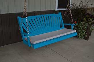 product image for Classic Outdoor 5 Foot Fanback Porch Swing - Painted- Amish Made USA -Carribean Blue