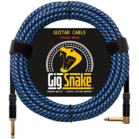 Guitar Cable 20 ft - 1/4 Inch Right Angle Blue Instrument Cable - Professional Quality Electric Guitar Cord and Amp Cable - Low Noise Bass and Guitar Cables - Reliable Cords for a Clean Clear Tone