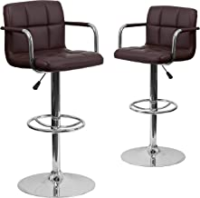 Flash Furniture Adjustable Bar Stools | Set of 2Brown Counter Height Barstools with Back and Armrest