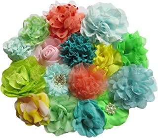 YYCRAFT 15pcs Large Chiffon Flower for Girls Headband Baby Flowers Bows,Crafts,Party Decoration(3