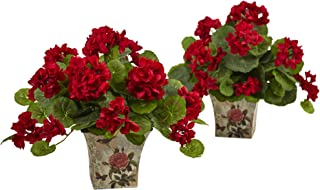 """Nearly Natural 6832-S2 11"""" Geranium Flowering Silk Plant with Floral Planter (Set of 2),Red,6.75'' x 22.5'' x 6.75''"""
