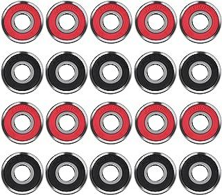 20 Piezas Cojinetes de Skate 608 2RS Rodamientos de Patines de Rueda y Longboard, Doble Blindado, Rojo y Negro