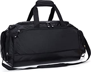 Gym Bag with Shoe Compartment Men Travel Sports Duffel, 24 Inches, Black