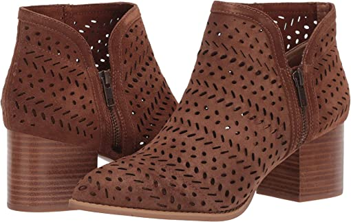 Cognac Perforated Suede