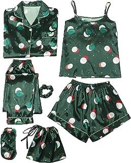 DIDK - Conjunto de pijama de bolsillo para mujer, 7 piezas, estampado floral