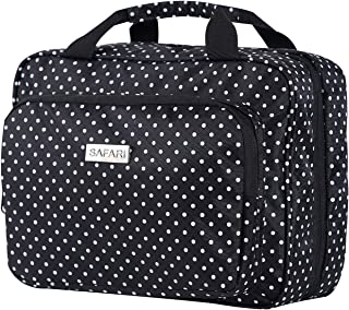 Large Hanging Travel Toiletry Cosmetic Bag for Women by SAFARI (Polka Dot) - Waterproof and Durable Fabric with Clear Compartments and Detachable Pouch - The Perfect Gift