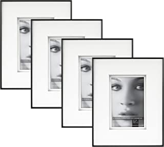 Framatic Fineline 8x10 Inch Aluminum Frame with 4x6 Inch Mat (4pk), Black (302166)