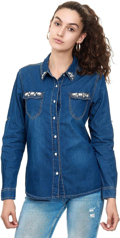 EGOMAXX Camisa de Vaquero para Mujer Blusa con Brillantes ...