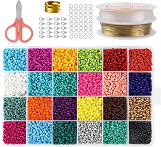 Abalorios para Hacer Collares, Abalorios para Hacer Pulseras, 24 Colores Vidrio de 3Mm Perlas de Potro Hechas A Mano para Joyas Collares Pulseras Pendiente BisuteríA Regalo DIY 14400Pcs