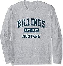 Billings Montana MT Vintage Sports Design Navy Print Long Sleeve T-Shirt