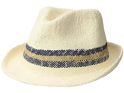 San Diego Hat Company PBF7332 Bangkok Paper Striped Fedora (Ivory) Caps