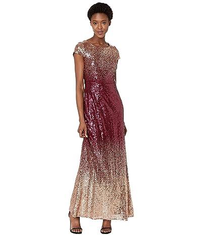 Alex Evenings Long A-Line Ombre Sequin Dress (Rose Gold/Wine) Women