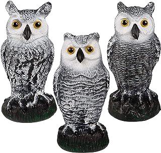 3 Pack Bird Scarecrow Fake Horned Owl Decoy, Plastic Owl Bird Deterrents, Nature Enemy Pest Repellent for Outdoor Garden Y...