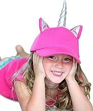 Girls Unicorn Hat - Pink Unicorn Baseball Cap for Little Girls with Silver Unicorns Horn, Kids Unicorn Gift for Girls Sun Hat with UV Protection