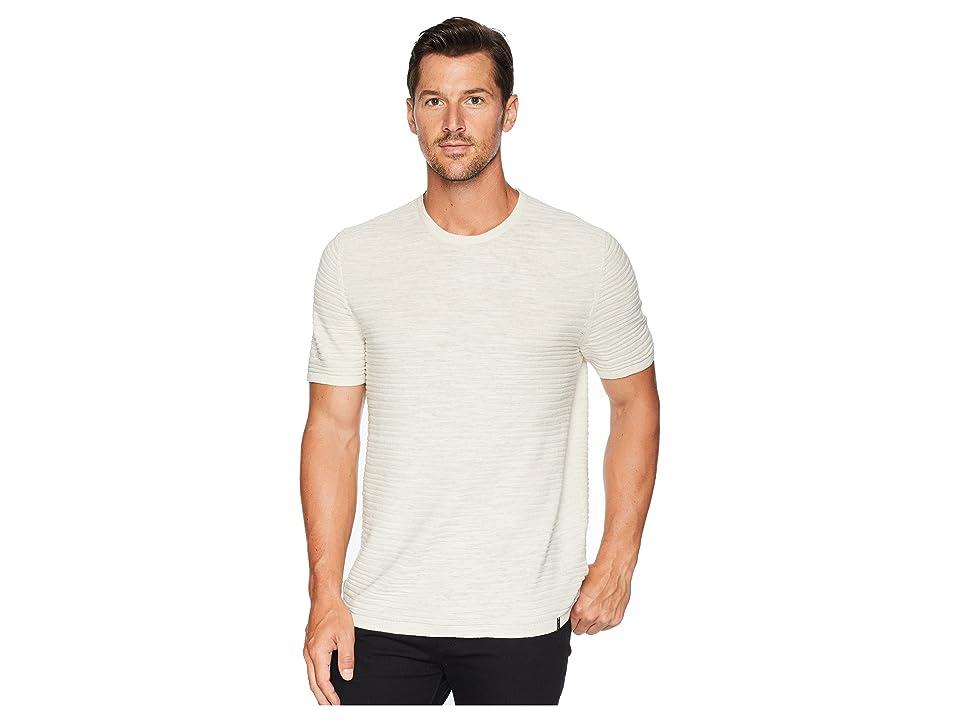 Calvin Klein Texture Stripe Linen T-Shirt (Silver Birch) Men