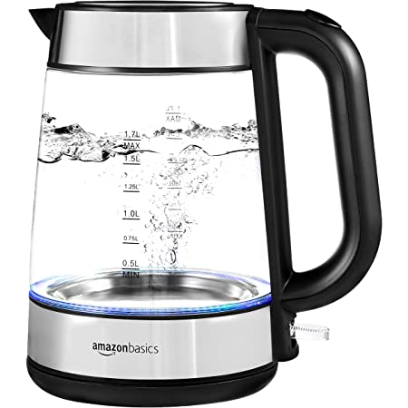 Amazon Basics Electric Glass and Steel Kettle - 1.7-Liter