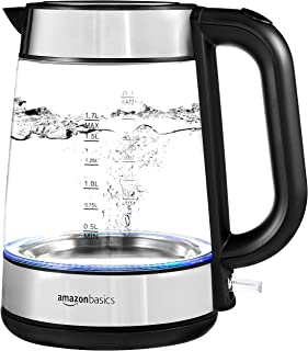 AmazonBasics Electric Glass and Steel Kettle - 1.7-Liter