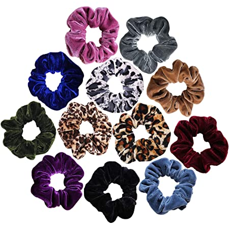 Black Soft VELVET Hair Scrunchie Elastic School Scrunchy with Diamante Clear Gem
