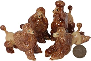 4 Brown Poodle Dog Puppy SET Miniature Ceramic Pottery Miniature Animal Figurine (2