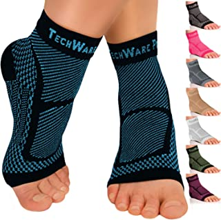 TechWare Pro Ankle Brace Compression Sleeve - Relieves Achilles Tendonitis, Joint Pain. Plantar Fasciitis Sock with Foot Arch Support Reduces Swelling & Heel Spur Pain. Injury Recovery for Sports