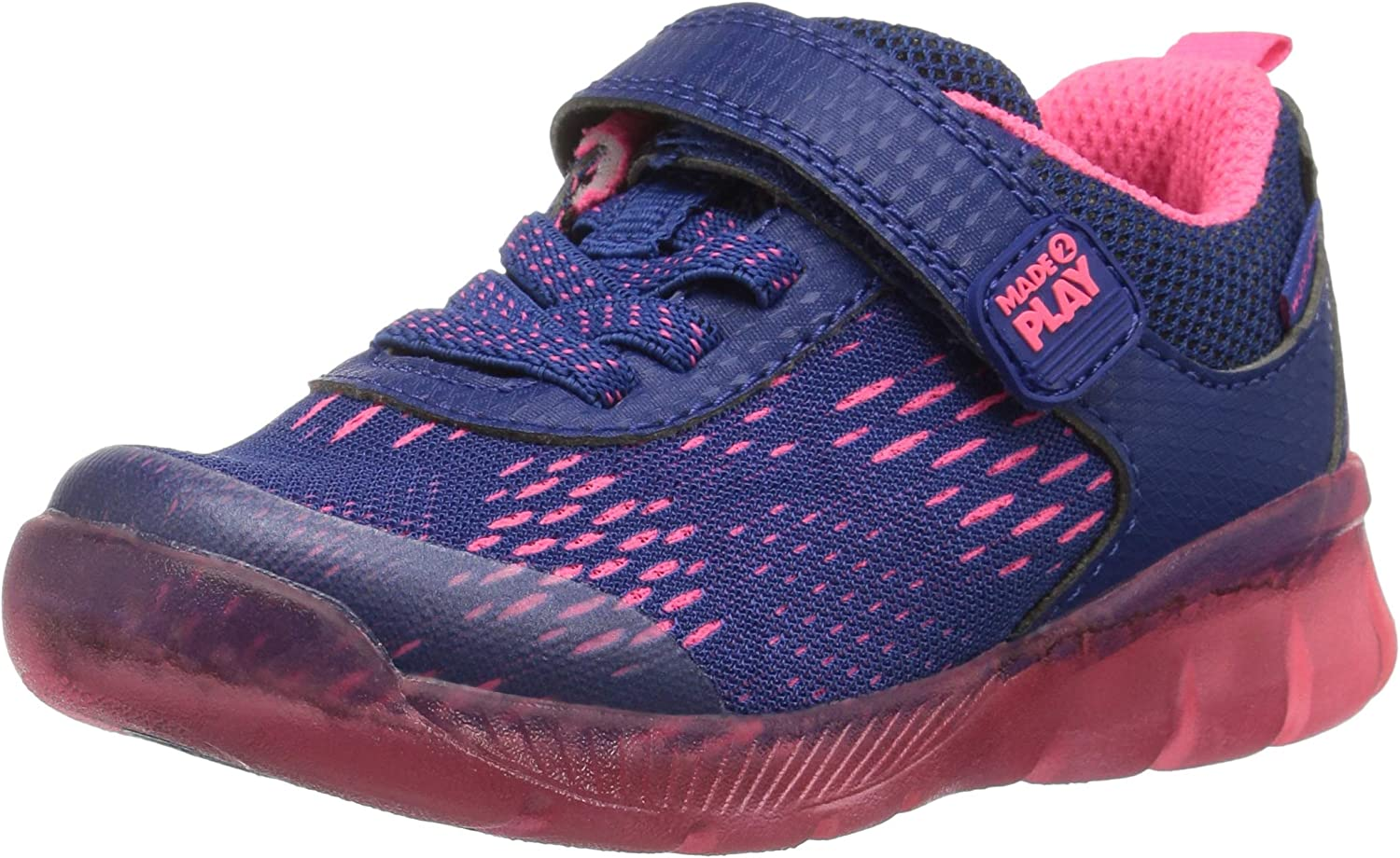 Stride Rite Girl's Made 2 Play Lighted Neo Sneaker, Navy/Pink, 3 W US Little Kid