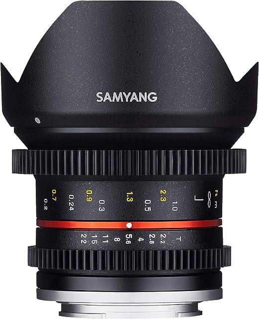 Samyang F1420506101 - Objetivo para vídeo VCSC-Mirrorless para Sony E (Distancia Focal Fija 12mm Apertura T2.2-22 Cine NCS CS diámetro Filtro: 67mm) Negro