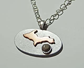 Michigan pendant necklace hand crafted by us, unisex, Petoskey stone, state, natural stone copper UP, upper peninsula jewelry