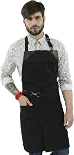 Under NY Sky No-Tie Deep Black Apron - Durable Twill with Leather Reinforcement and Split-Leg - Adjustable for Men and Women - Pro Barber, Tattoo, Barista, Bartender, Baker, Hair Stylist, Server Apron
