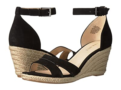 Nine West Jabrina Espadrille Wedge Sandal (Black Suede) Women