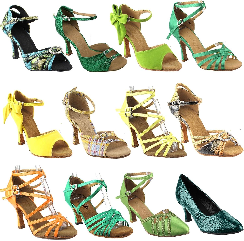 50 Shades Green Popular standard Yellow Ballroom Latin Shoes Dance Women: for Lowest price challenge B