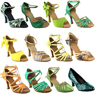 50 Shades Green & Yellow Ballroom Latin Dance Shoes for Women: Ballroom Salsa Wedding Clubing Swing