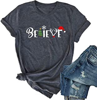 KIDDAD Believe Christmas T-Shirt Women Casual Short Sleeve Funny Letter Print Tee Tops
