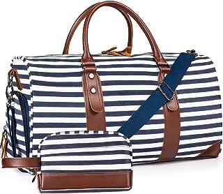 Oflamn Groß Reisetasche Damen Weekender Herren Segeltuch Handgepäck mit Schuhfach, Toiletbag Einschließen 1.0 Block Streifen Satz