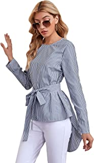 Shein Women's Striped Print Tie Front High Low Long Sleeve Blouse Top