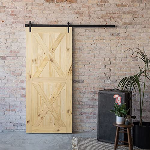 """high quality BELLEZE lowest 36"""" x 84"""" inches DIY Sliding Barn Door Natural Wood Pine Unfinished Single Door Only Pre Drilled (3 online ft X 7 ft), Double X outlet online sale"""