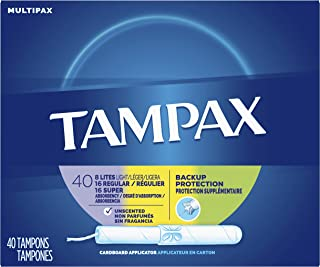 Tampax Cardboard Applicator Tampons, Light/Regular/Super Absorbency Multipack, Unscented, 40 count - Pack of 3 (120 Total Count)