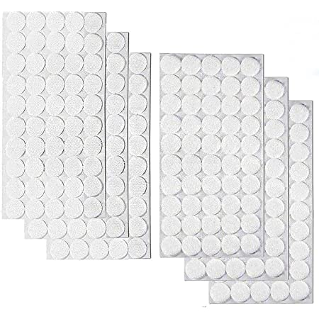 """Self Adhesive Dots 300pcs(150 Pair) 3/4"""" Diameter Sticky Back Coins Hook & Loop Self Adhesive Dots Tapes Magic Sticky Dots 20mm White, Suitable for School Classroom, Office, Home"""