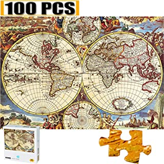 100 Pieces Jigsaw Puzzles Puzzles for Adults Van Gogh Artwork Art for Teen Adult Grown Up Puzzles Large Size Toy Educational Games Gift 100 PCS Home Decor (Old World Navigation Map)
