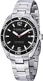 Stuhrling Original Men's 515.02 Aquadiver Regatta Endeavor Quartz Date Black Dial Stainless Steel Watch