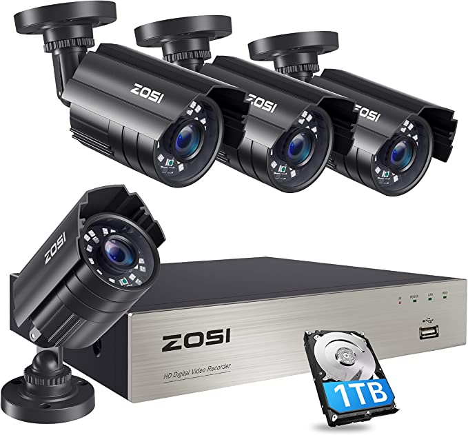 Amazon.com: ZOSI 1080P Security Camera System with 1TB Hard Drive H.265+ 8CH 5MP Lite HD-TVI Video DVR Recorder with 4X HD 1920TVL 1080P Indoor Outdoor Weatherproof CCTV Cameras ,Motion Alert,Remote Access : Everything Else