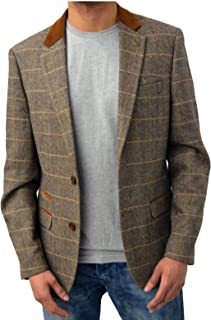 Mens Marc Darcy Designer Blazer Tailored Fit Checkered Velvet Trim Smart Formal Dinner Coat Jacket Waistcoat Dx7 Harris Sc...