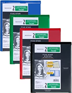 Five Star 2 Pocket Folders with Prong Fasteners, Folders with Pockets, Customizable Cover, Plastic, Black, Red, Green, Blue, 4 Pack (38133)
