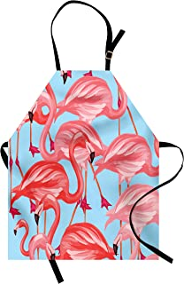 Lunarable Flamingo Apron, Tropical Birds Pattern Flamingos Colorful Exotic Animal Nature Artwork, Unisex Kitchen Bib with Adjustable Neck for Cooking Gardening, Adult Size, Blue Coral