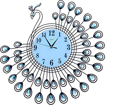 Silent Wall Clock Peacock Feature 26''inch with 9''inch Clock face (Blue Peacock)