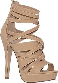 MVE Shoes Womens Comfortable Open Toe Platformed Strappy Heel