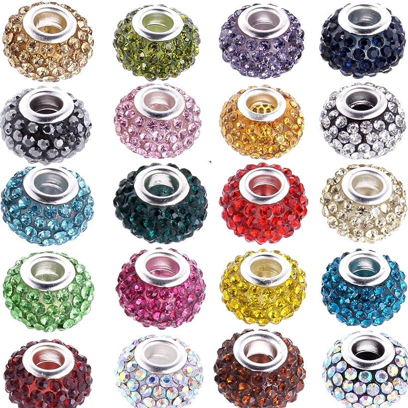 RUBYCA 15MM 100Pcs Mixd Color Assortment Big Hole Crystal Charm Beads fit European Bracelet Jewelry